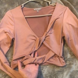 long sleeve, blush, crop-top with keyhole front